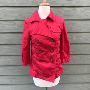 GAP Coral/Red Pea Coat Size Xs
